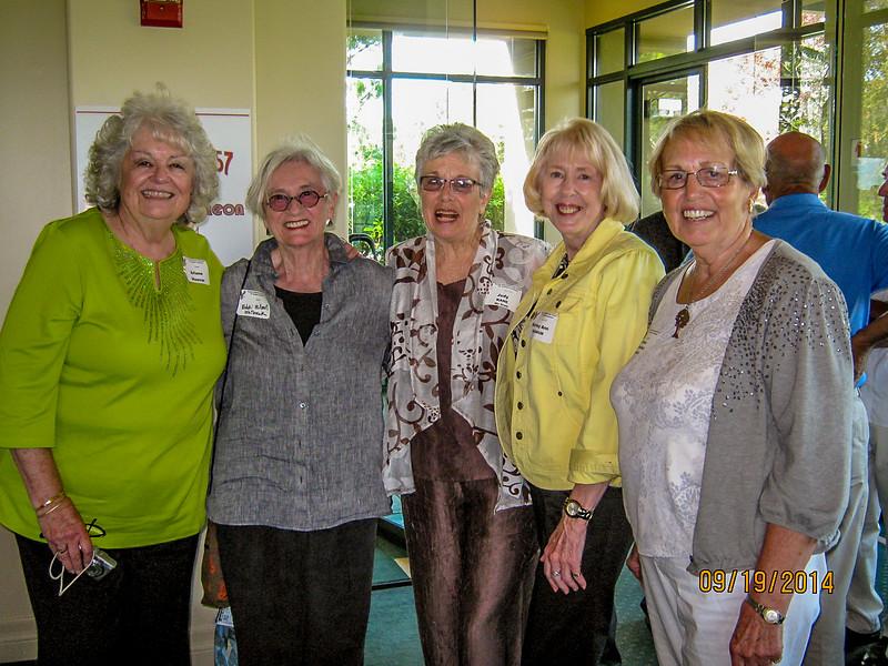 Guest Arlene Hoover, Edwina (Willmot) Whitbeck, Judy (Kane) McGrath, Shirley Granum, Darlene (Steinhaufel) Boyanich