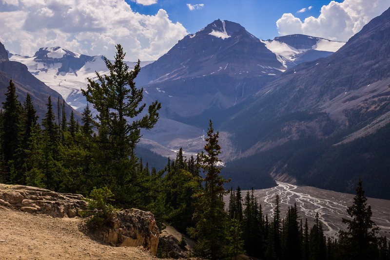Glacial moraine and headwaters above Peyto Lake, which is to the right.