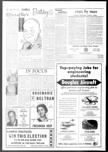 Daily Trojan, Vol. 48, No. 17, October 15, 1956