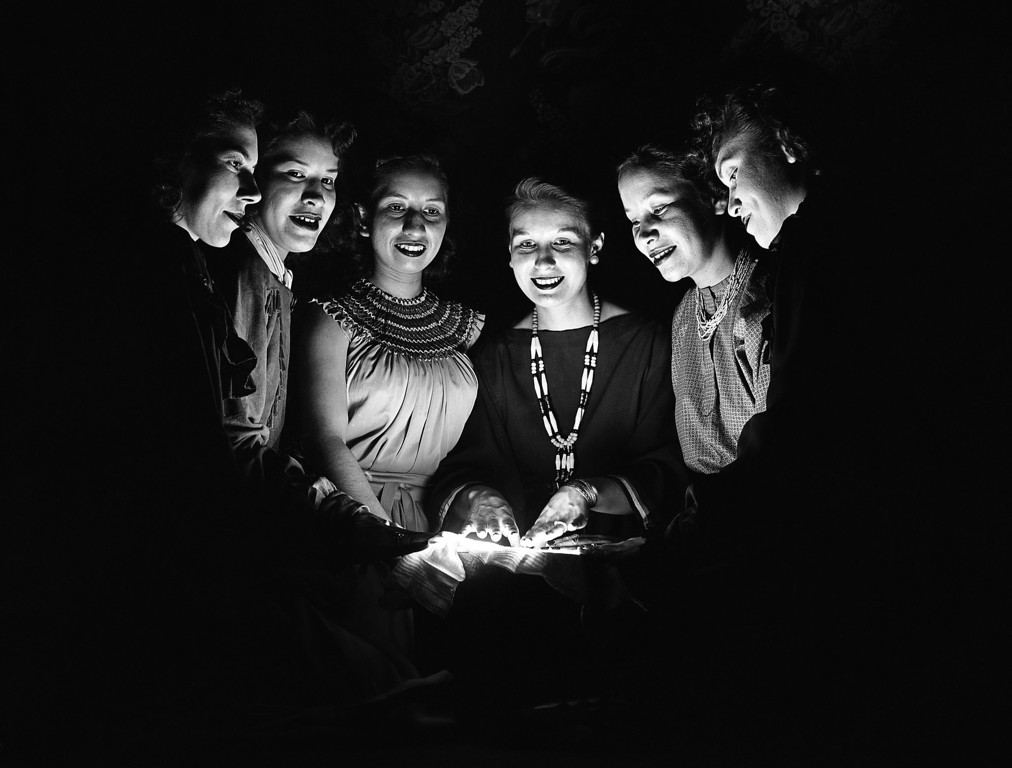 . Practicing for the VIP (very important persons) original amateur radio program, scheduled for Washington on January 25, are these women shown Jan. 19, 1951 from left to right are Mae Beaupre of Detroit Lakes, Minn., a Chippewa; Ruby Anderson, Holdenville, Okla., a Creek; Jeanne Duncan, Wrstville, Okla., a Cherokee; Evelyn Massey, Haskell, Okla., a Cherokee; Bernese Bonga, walker, Minn., a Chippewa; and Charlotte Heade, Barga, Mich., a Chippewa. (AP Photo/William Smith)
