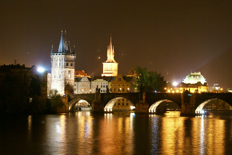 Prague at night - that's Charles Bridge, a famous landmark.  If you've never heard of the Charles Bridge, that's okay.  I had never heard of it before either.