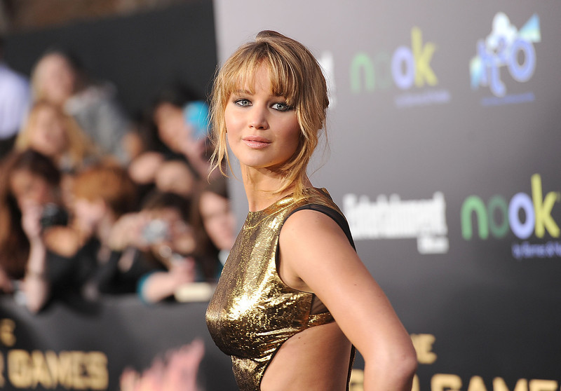. Actress Jennifer Lawrence arrives at \'The Hunger Games\' Los Angeles premiere held at Nokia Theatre L.A. Live on March 12, 2012 in Los Angeles, United States.  (Photo by Jason Merritt/Getty Images)