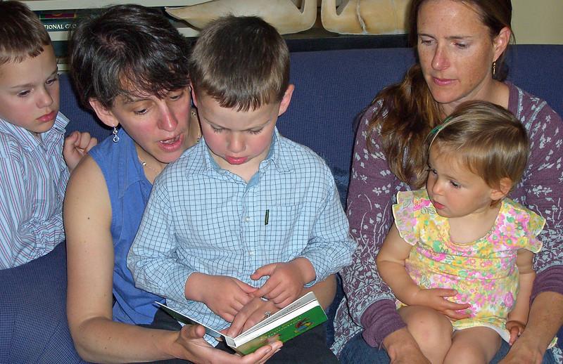 Tyler, Elizabeth, Owen is reading, Leila, Hazel