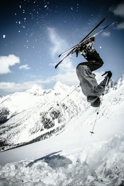 Backcountry skiing backflip in Rogers Pass, British-Columbia.