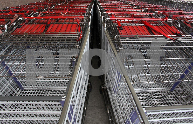 Shopping carts await eager buyers.