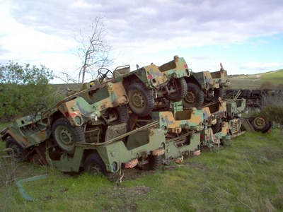 Military Vehicle Bone Yard, Camp Pendleton. Dec 2004