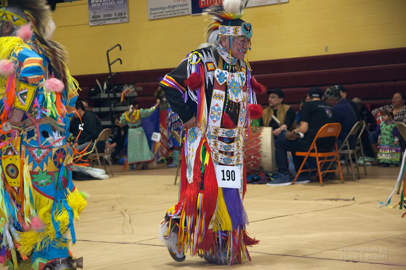 Havre Daily News/Floyd Brandt     Ronald Windy Boy dances in the elders dance at the Sweetwater Pow wow MSU-N Friday.  April 01, 2017 Havre, Montana. Windy Boy now lives in Great Falls but was born in Fort Belnap and severed in Vietnam. at age 70 he carried the eagle staff in the Grand Entry and is still dancing in tribal gatherings.
