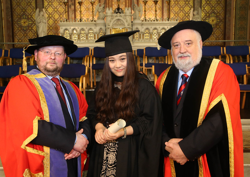Pictured is Jack Walsh, Deputy Chairperson Govering body, Rongrong Zhang, Waterford who graduated Bachelor of Arts (Hons) in Hospitality and Dr. Derek O'Byrne, Registrar of Waterford Institute of Technology (WIT). Picture: Patrick Browne.