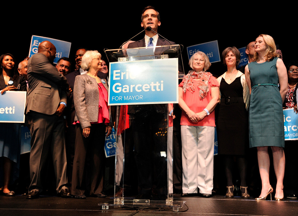 . Los Angeles Mayoral candidate Eric Garcetti gives his election night speech. Garcetti held his election night party at The Hollywood Palladium where supporters showed hear him speak. Hollywood, CA 5/22/2013(John McCoy/LA Daily News)