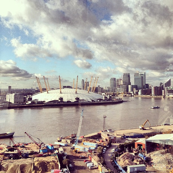 #London under the gondola, en route to Royal Docks via Emirates Air Line #wtm2012