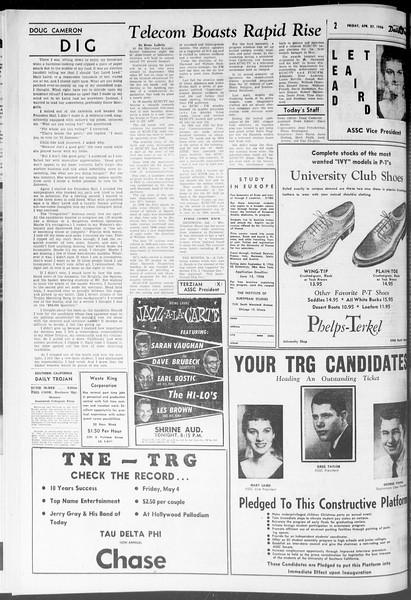 Daily Trojan, Vol. 47, No. 122, April 27, 1956