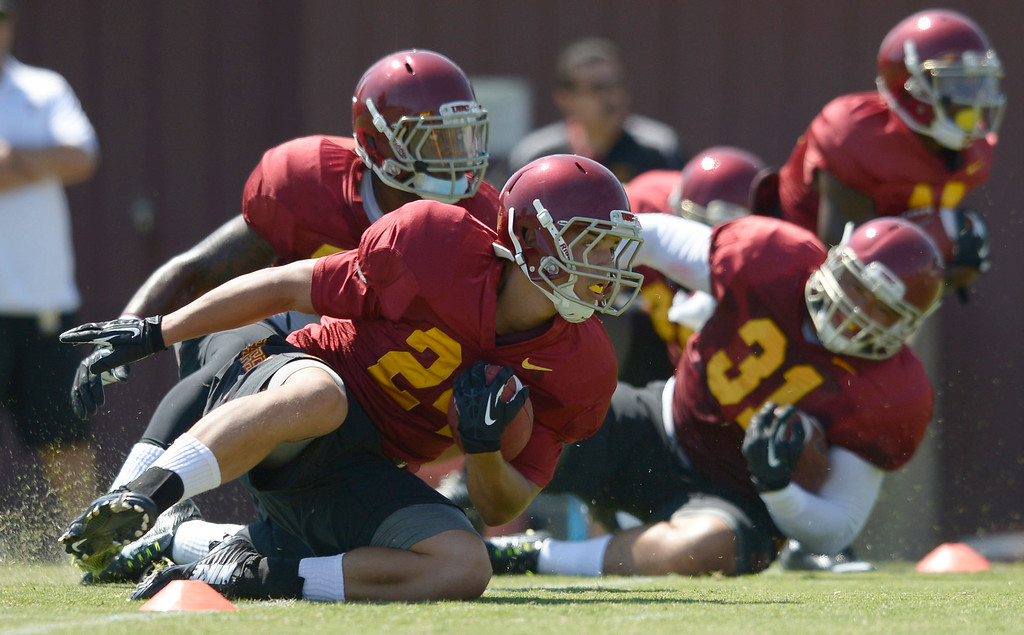 . Football practice is in full swing on the Howard Jones Field at USC. Los Angeles, CA. 8/6/2014(Photo by John McCoy Daily News)