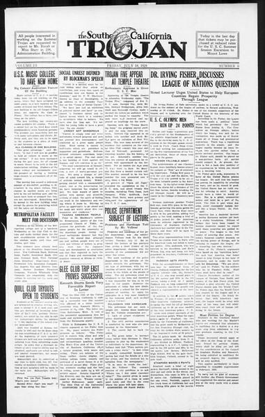 The Southern California Trojan, Vol. 3, No. 6, July 18, 1924