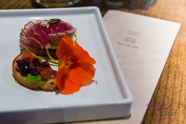 "Holoholo General Store Spring Harvest Dinner at Livestock Tavern. First Course: ""Tuna Salad Sandwich."" Seared big-eye 'ahi, puréed Nicoise salad elements. Wine pairing: Tiefenbrunner, Pinot Grigio 2013. Vigneti Delle Dolomiti. © 2015 Sugar + Shake"