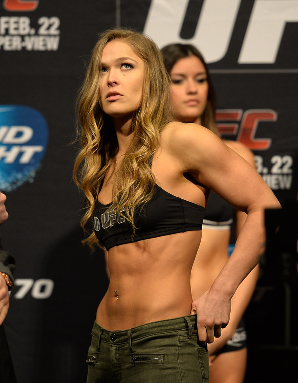. Ronda Rousey during her weigh in for UFC 170 at the Mandalay Bay Events Center in Las Vegas Friday, February 21, 2014. (Photo by Hans Gutknecht/Los Angeles Daily News)