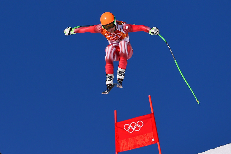 . Switzerland\'s Sandro Viletta competes during the Men\'s Alpine Skiing Super Combined Downhill at the Rosa Khutor Alpine Center during the Sochi Winter Olympics on February 14, 2014. (FABRICE COFFRINI/AFP/Getty Images)
