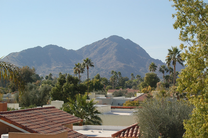 A view of Camelback Mountain from our new roof.