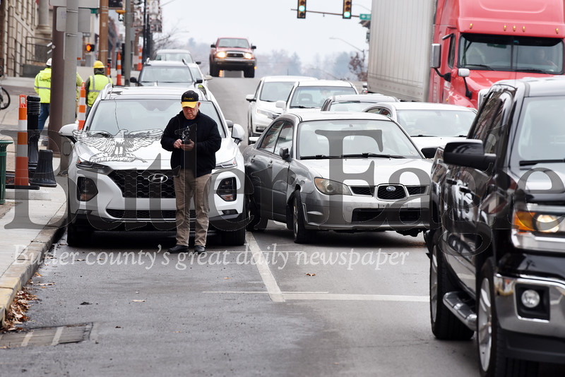 Harold Aughton/Butler Eagle: A one-car accident occurred on S. Main St. in Butler shortly before noon on Wed., Nov. 20, 2019.