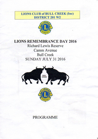 Lions Rememberance Day 2016_Sun 31 July 2016