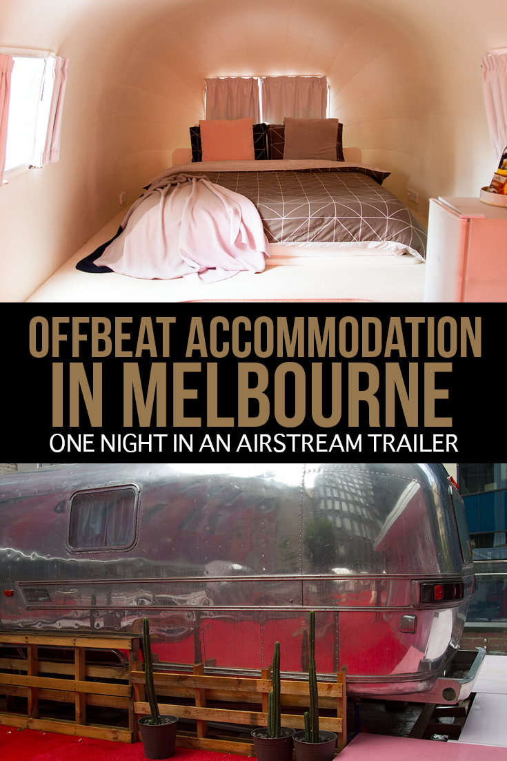 If you're looking for offbeat accommodation in the city of #Melbourne, #Australia - NOTEL is a great place to start. It features six chrome Airstream trailers, overlooking Finders Lane in the CBD - one of which comes with its own private deck and a hot tub! / Melbourne Accommodation / Fun Things to Do in Melbourne / Unusual Things to Do in Melbourne /