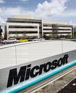 Pictured are scenes from Microsoft's corporate headquarters campus in Redmond, Washington