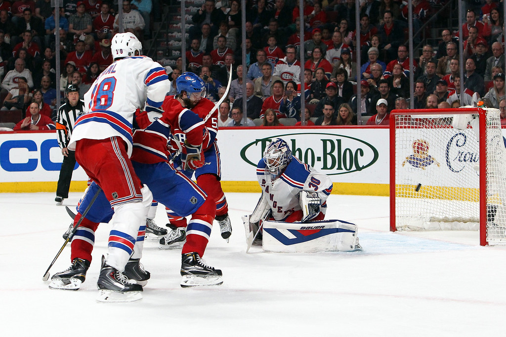 . Henrik Lundqvist #30 of the New York Rangers tends goal against the Montreal Canadiens during Game Two of the Eastern Conference Final during the 2014 Stanley Cup Playoffs at Bell Centre on May 19, 2014 in Montreal, Canada.  (Photo by Francois Laplante/FreestylePhoto/Getty Images)