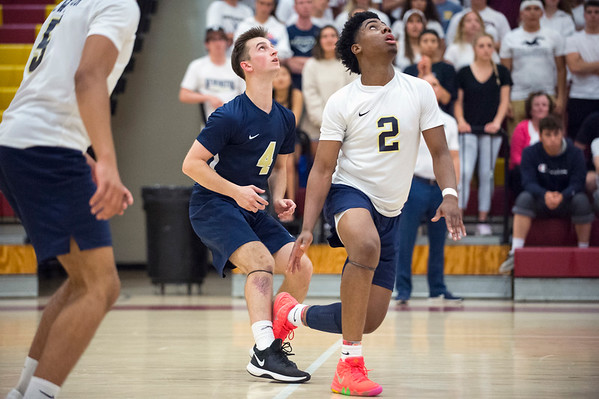 06/04/19 Wesley Bunnell | Staff Newington volleyball defeated Wethersfield 3-0 in a semifinal game at New Britain High School on Tuesday night. Collin Liedke (4) and Louis Egbuna (2).