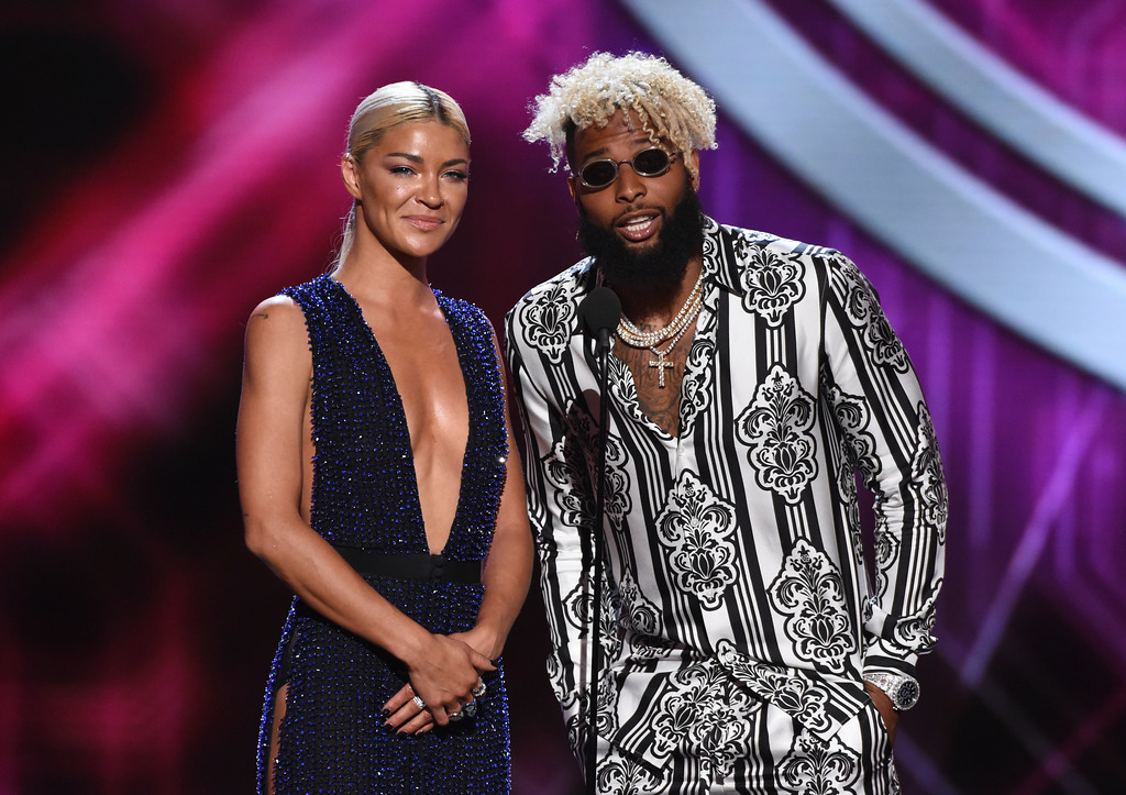 . Odell Beckham Jr., right and Jessica Szohr present the award for best breakthrough athlete at the ESPY Awards at Microsoft Theater on Wednesday, July 18, 2018, in Los Angeles. (Photo by Phil McCarten/Invision/AP)