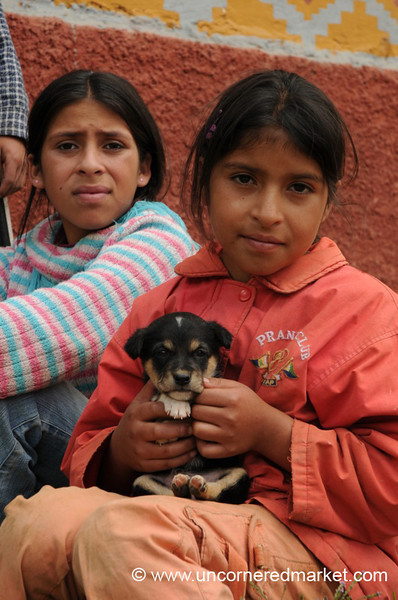 Girls With Their Puppy - Near Kuelap, Peru