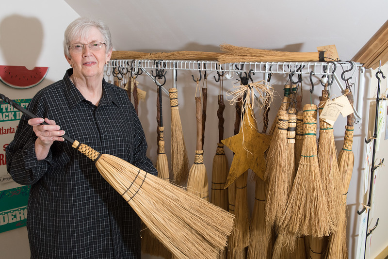 Linda created the brooms and Jerry made the handels for these broom