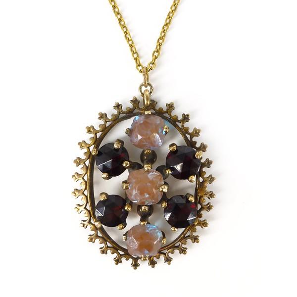 Antique Edwardian Saphiret & Garnet Glass Rolled Gold Pendant Necklace