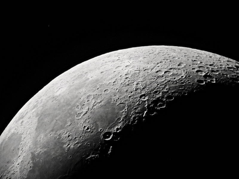 The Moon imaged with 10 inch refractor 20mm eyepiece projection at about 153x. 1/60 sec. March 20, 2010 at 20:24 PM EDT.