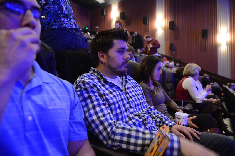 . AURORA, CO. - JANUARY 17:  Guests wait in the seats of theater I XD before the reopening and remembrance of the Century Aurora Theater where suspect James Holmes is accused of killing 12 people and wounding 70 others on Friday, July 20, 2012 (Photo By RJ Sangosti / The Denver Post)