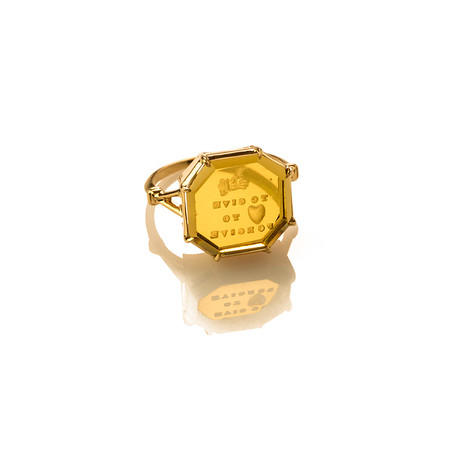 """Hand to Give, Heart to Forgive"" (18kt Royal gold & yellow glass seal)"