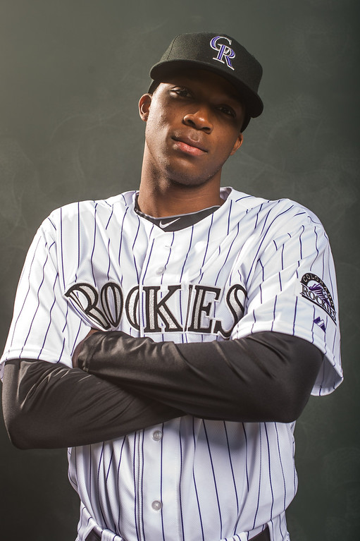 . Rosell Herrera #76 of the Colorado Rockies poses for a portrait at the Salt River Fields at Talking Stick on February 26, 2014 in Goodyear, Arizona. (Photo by Rob Tringali/Getty Images)