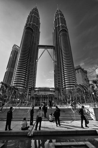 Life scene around the Petronas Towers.
