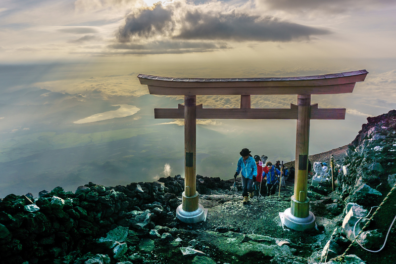 Torii gate at the summit of Mt Fuji. Editorial credit: MADSOLAR / Shutterstock.com