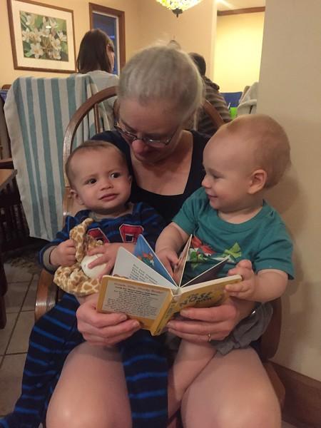 Grandma Mitzi reading to Asher & Leif