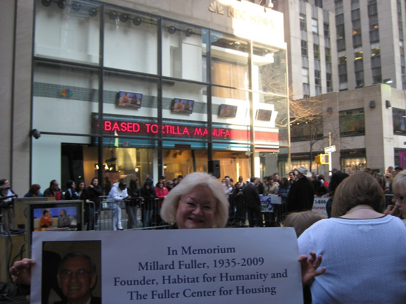 09 03-06 Jackie Goodman, member of FCH Advisory Council and board member of Greater Atlanta FC, holds memorium poster at NBC Today Show in New York City.