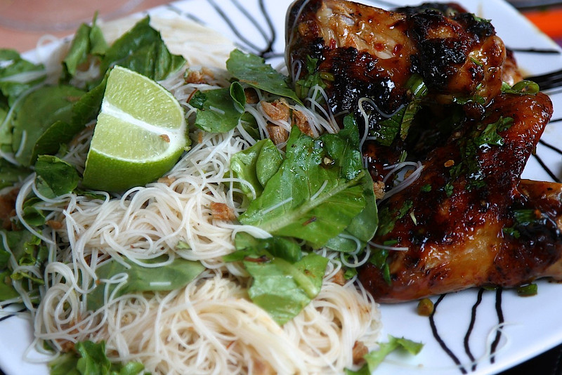 A relaxing meal at home with the flavors of our favorite Vietnamese/Thai join in PDX, Pok Pok Heres our Thai salad and wings!! It was so incredible!!