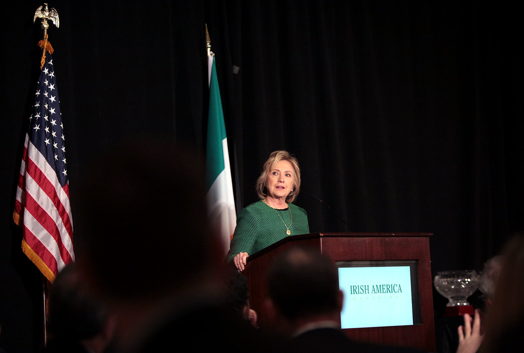 . Former Secretary of State Hillary Clinton speaks on stage during a ceremony to induct her into the Irish America Hall of Fame on March 16, 2015 in New York City.   (Photo by Yana Paskova/Getty Images)