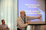 Bernd Benecke (in the background) and I teamed up to present a four-hour audio description workshop at this year's Languages & The Media conference in Berlin.