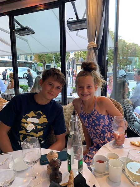 Aidan and Mia at dinner in Paris. They are getting so old!.jpg