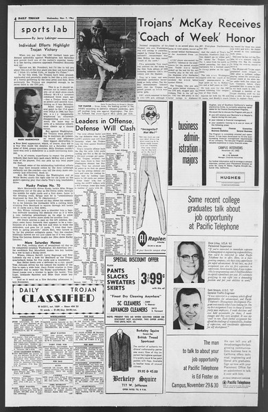 Daily Trojan, Vol. 54, No. 32, November 07, 1962