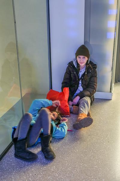 Grace & Lauren chill at Top of the Rock light room