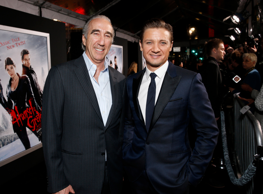 ". Chairman and CEO of MGM Gary Barber and Jeremy Renner arrive at the premiere of ""Hansel & Gretel Witch Hunters\"" on Thursday Jan. 24, 2013, in Los Angeles.  (Photo by Todd Williamson/Invision/AP)"