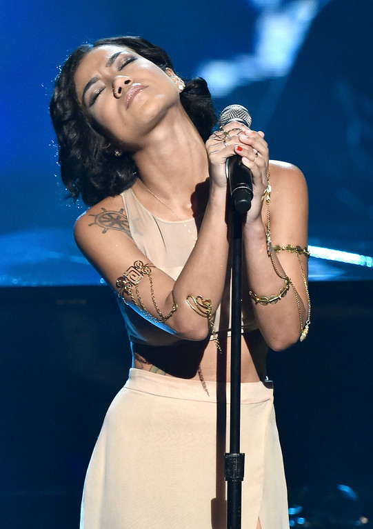 . Singer Jhene Aiko performs onstage during the BET AWARDS \'14 at Nokia Theatre L.A. LIVE on June 29, 2014 in Los Angeles, California.  (Photo by Kevin Winter/Getty Images for BET)