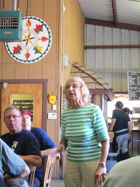 Nita Gizdich gives the group a short ranch history lesson.