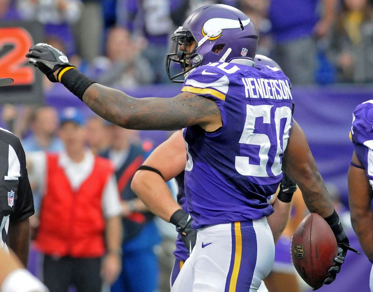 """. <p><b> Vikings linebacker Erin Henderson is suing over his recent drunk driving arrest, claiming that Eden Prairie police who pulled him over � </b> <p> A. Violated his constitutional rights <p> B. Had no probable cause to stop him <p> C. Caused him to spill his Big Gulp daiquiri <p><b><a href=\'http://www.twincities.com/sports/ci_24611586/vikings-erin-henderson-suing-over-drunk-driving-arrest\' target=\""""_blank\"""">HUH?</a></b> <p>    (Pioneer Press: Sherri LaRose-Chiglo)"""