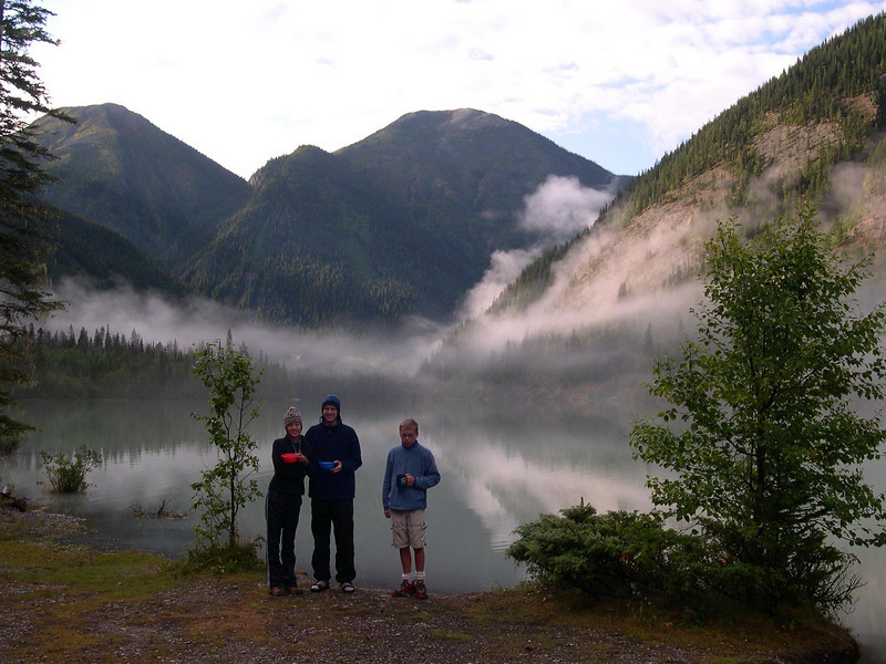 Kinney Lake (Day 2): Jayna, Shane, and Tyler enjoy the first of many mornings of instant oatmeal and hot cocoa.